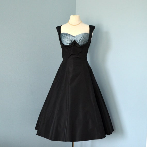 RESERVED FOR SARIA Vintage 1950s Party Dress...Beautiful Reich-Petrillo Midnight Black Taffeta Party Dress
