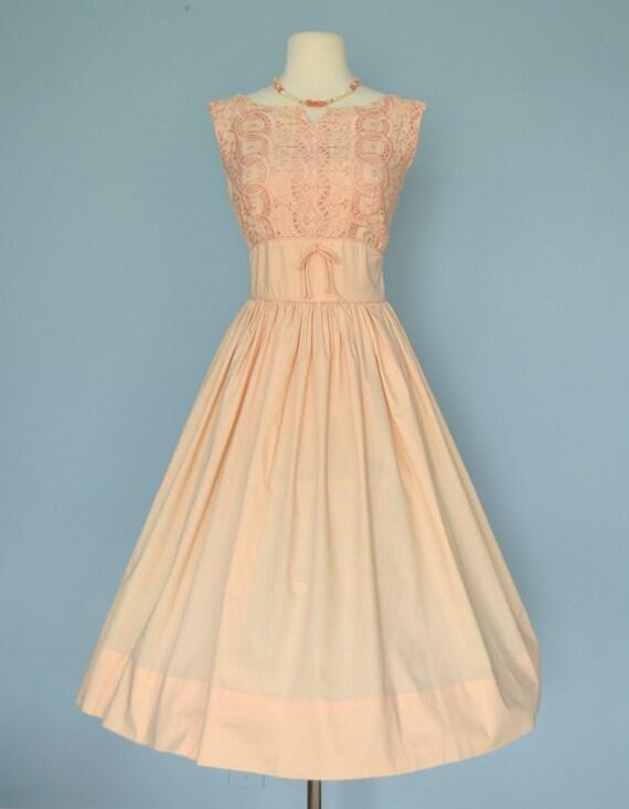 Vintage 1950s Party Dress...Pale Peach Cotton Party Dress