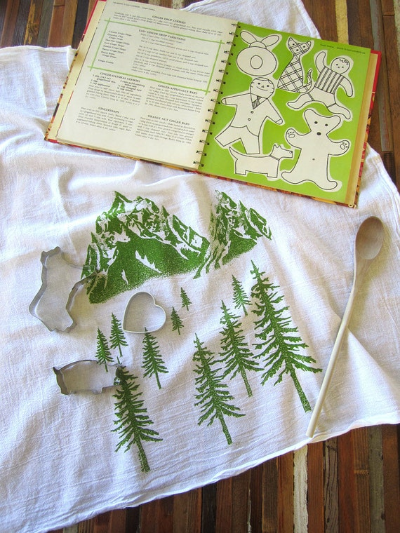 Tea Towel - Screen Printed Organic Cotton Mountain Scene Flour Sack Towel - Soft and Absorbent Kitchen Towel for Dishes