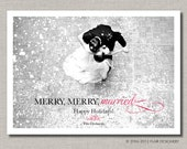Holidy Photo Card or Wedding Thank You Card - Set of 100 - Merry Merry Married by Abigail Christine Design