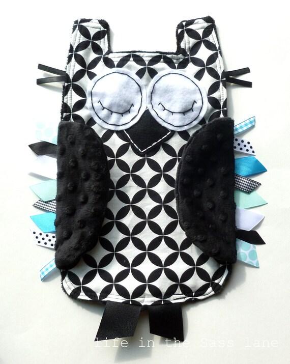 Black, White, Aqua and Turquoise OWL Ribbon Tag Minky Baby Blanket in Alexander Henry Diamond Eye Fabric Blankie Lovey Lovie Baby Gift
