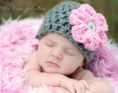 Newborn Baby Hat Grey Pink Flower Beanie