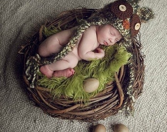 SET Olive Fur, Wood Branch Nest, Owl Nest, Bird Nest, Newborn Nest, Newborn Photography, Photo Prop