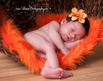 Orange Mongolian Faux Fur Nest Photography Prop Rug Newborn Baby Toddler 27x20