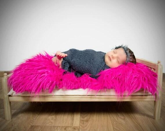 Hot Pink Mongolian Faux Fur Nest Photography Prop Rug Newborn Baby Toddler 27x30