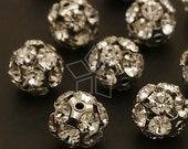 CU-018-OR / 2 Pcs - Sparkling Rhinestone Ball Bead (Crystal), Silver Plated over Brass / 12mm