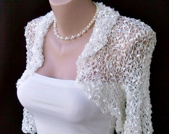 Bridal White Silk Wedding Evening Chic Hand Knitted Shrug Bolero