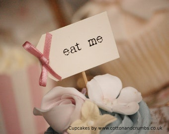 eat me Cupcake Sticks - ivory with dusky pink bows - set of 10