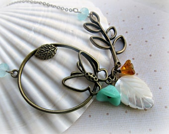 Butterfly necklace, Bronze Leaf necklace, Bell Flowers necklace, Mother of Pearl Leaf necklace