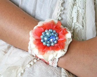 Fabric Flower Cuff Bracelet in Bright Coral and Blue, Textile Cuff Bracelet, Floral Corsage Bracelet, Textile Jewelry, Unique Gift for Girls