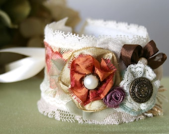 Gift for Women, Fabric Cuff Bracelet, Floral Wrist Corsage, Bride Bracelet, Bridesmaid Jewelry, Colorful Flower Corsage, Textile Bracelet