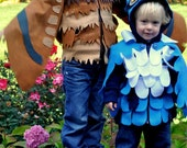RESERVED for LARA 3T Hooded Owl Costume in Classic Blue - Original Toddler Halloween Dress Up Pretend Play Made to Order