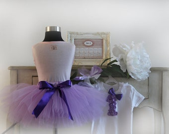 1st birthday outfit violet tutu skirt with onesie and matching headband photo prop  vintage
