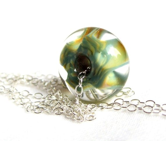 Lampwork Bead Necklace Teal Amber Glass Sterling Silver Chain
