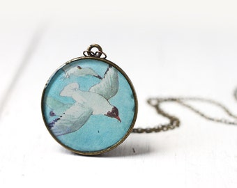 Nautical Seagull Bird Vintage Art Round Pendant Necklace - Blue Skies, Beach Wedding Bridesmaid Jewelry Long Necklace
