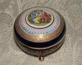 Stunning German Deco  Powder, Dresser, Trinket Jar - Cobalt, Lusterware, Gold