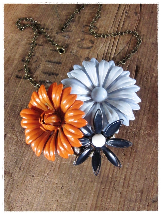 Retro Flower Statement Necklace, Boho Floral Collage, Blue, Orange, Upcycled Summer Jewelry