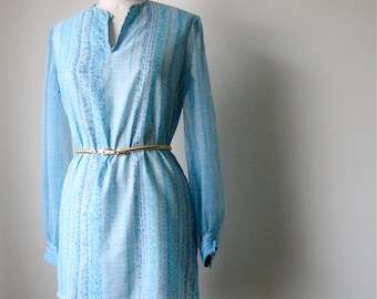 Sale! Vintage 70's Sheer Sleeve Tunic Dress