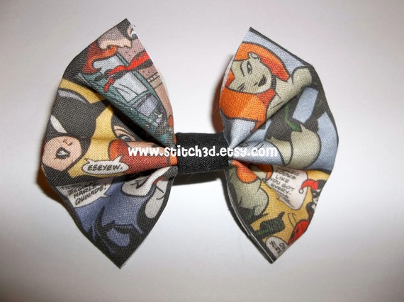 Batgirl Poison Ivy Harley Quinn Catwoman fabric hair bow or bow tie