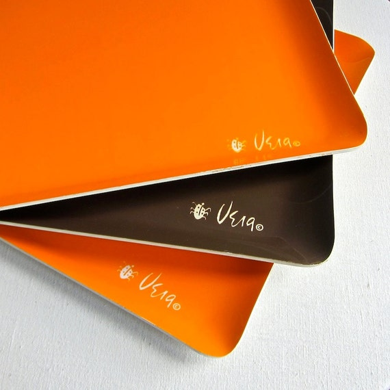 Vera Neumann Plastic Trays in Orange and Brown 1970s Set of Three