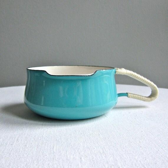 Dansk Kobenstyle Turquoise Blue Enameled Sauce Pan, 1960s