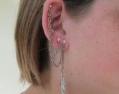 Multiple Piercing Triple Piercing Cartilage Earring and Single Piercing Earring Textured Chain and Silver Feather Charm