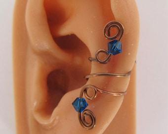 Oxidized Copper No Piercing Ear Cuff Capri Blue Swarovski Bicones