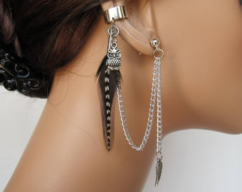 Boho Ear Cuff Black Feather Chain Owl and Wing
