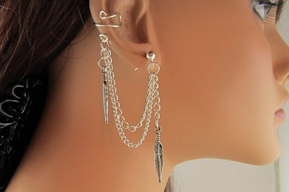 Ear Cuff With Double Chain Silver Feather and Earring Gift Under 15