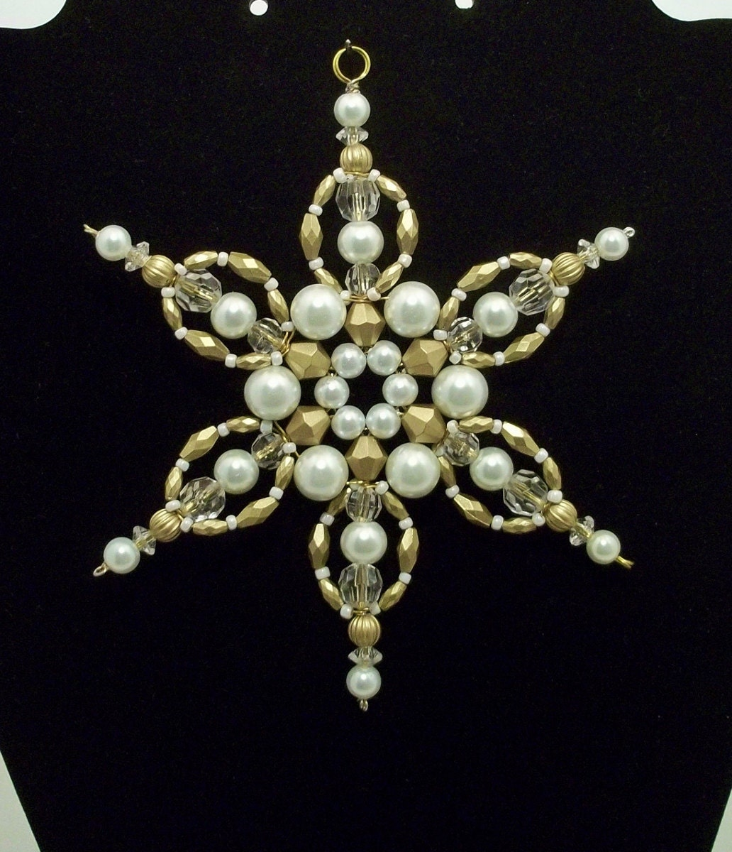Snowflake Ornament White Pearl And Antique Gold Limited