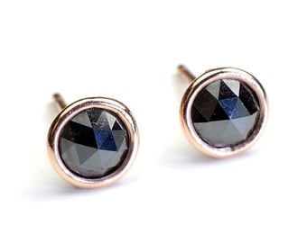 Rose Cut Black Diamond and Gold Stud Earrings, Diamonds By the Yard Bezel, Diamond Studs, 1.37ct, Rose Gold, Nixin