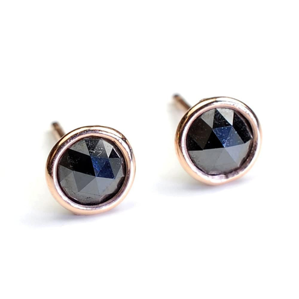 Rose Cut Black Diamond and Gold Stud Earrings Diamonds By the