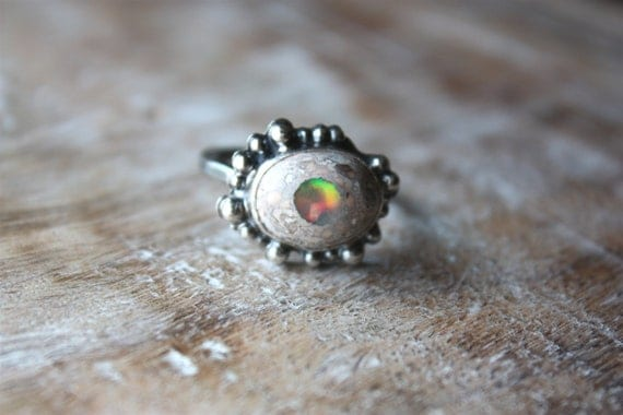 Mexican Fire Opal Sterling Silver Cocktail Ring... Sequined Fire...