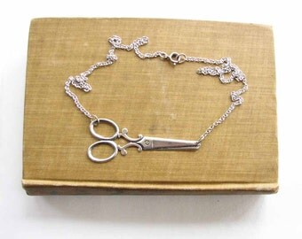 silver scissors necklace - matches my silver scissor bracelet - shears necklace / hair stylists favorite