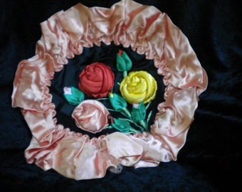 x Vibrant 1940s Silk Pillow Sham of Puffy Giant Roses (FF180)