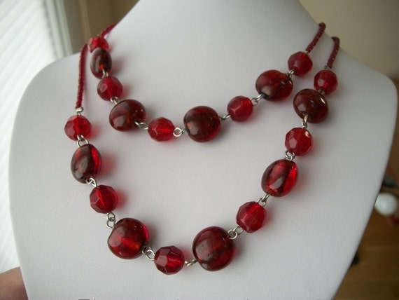 RESERVED FOR KAREN Red Bead Necklace