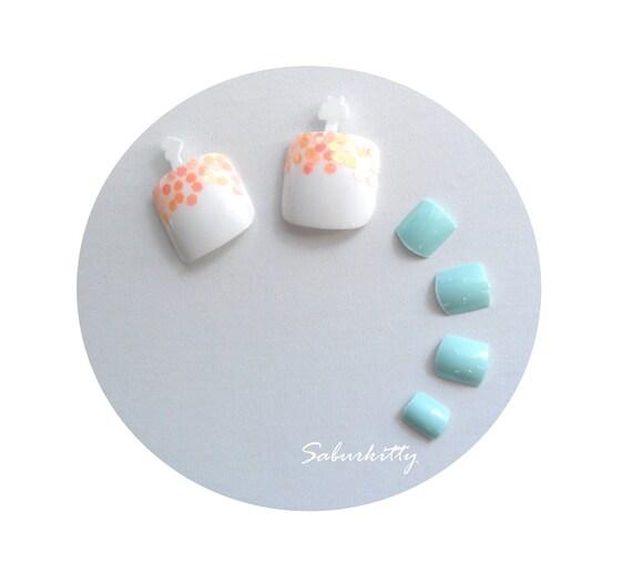 Tangerine and White Nail Art Toenail Set (1.6 cm size, 3d, orange, bright, summer pedicure, fake, nails, tips, acrylic toenails)