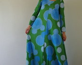 Vintage 1970s Long Green & Blue Maxi Tent Dress . Bubble Op Art . Small Medium Large