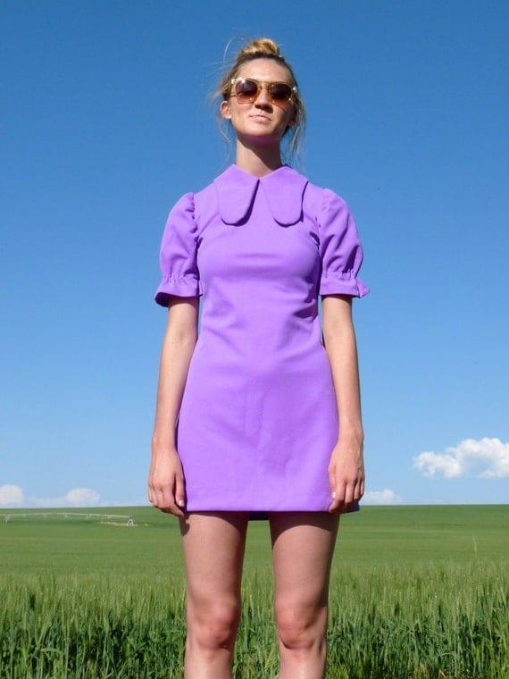 60s Purple Peter Pan Collar Go Go Mini Dress xxs xs