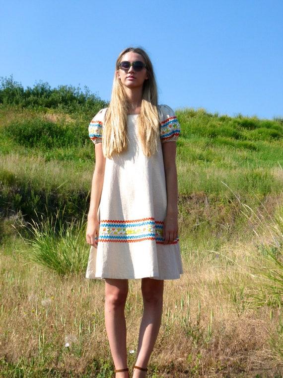 60s Colorful Striped Canvas ULTRA Trapeze Dress xs s m