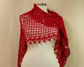 They Really Loved This / Crochet Shawl Ruffle Red Shawl Wedding Bridal Shawl Wrap Stole Red Wedding Accessory Shawl