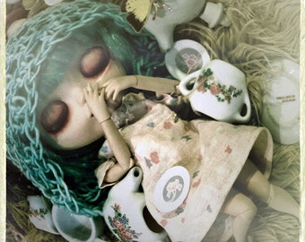Tea Party Print, Doll Photo beautiful photography photograph Old Vintage Looking 4x4 8x8 10x10 13x13 square Sepia Teal Blue