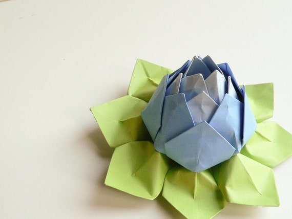 Origami Paper Lotus Flower// Sky Blue, Bluebell, and Apple Green - Decoration or Favor, Thank You, Hostess, Birthday, Get Well gifts