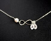 Customized Infinity necklace with Two initial leaf and Pearl - STERLING SILVER  - family initials ,eternity jewelry , figure 8 necklace