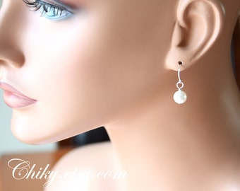 Wedding Jewlry Pearl earrings - Silver / Gold , wedding bridal jewelry gift, dainty earrings, delicate simple, Mothers Day Gift, Graduation