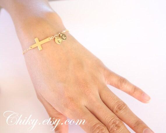 Sideways Cross Bracelet Gold Sideways Cross Bracelet With