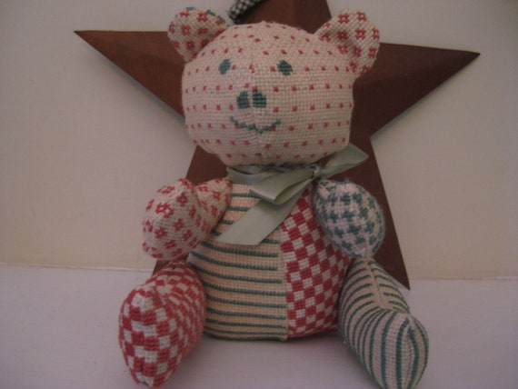 Teddy Bear 6 1/2 Inches Handmade Counted Cross Stitch One of a Kind Reserved for WINGS