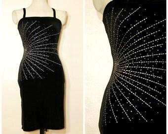 90s Black Velvet Sparkle Dress XS Small Bodycon Shiny Metallic Goth Fancy Formal
