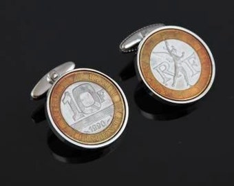 French Franc Cufflinks - Genuine 10 France Cufflinks - Includes presentation box - 100% satisfaction - 3 day delivery option
