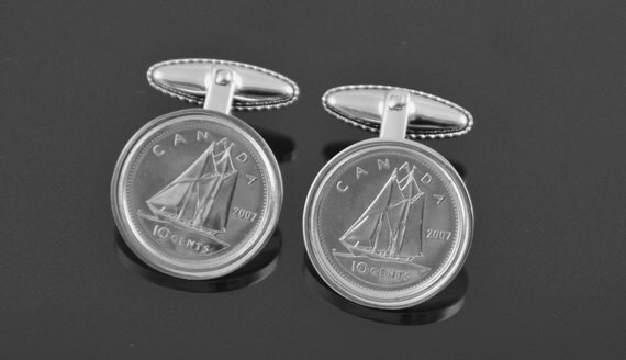 Canada gift for men- Genuine Canadian mint coins- Handmade into Cufflinks in Cufflink box